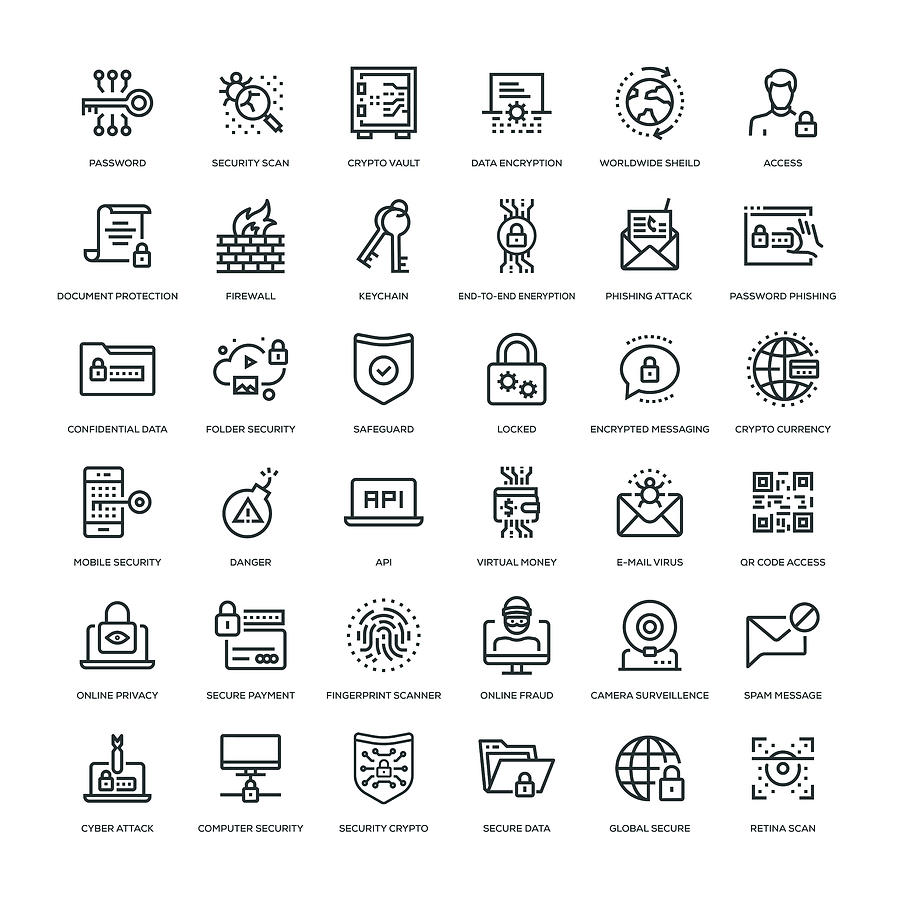 Cyber Security Icon Set Drawing by Enis Aksoy
