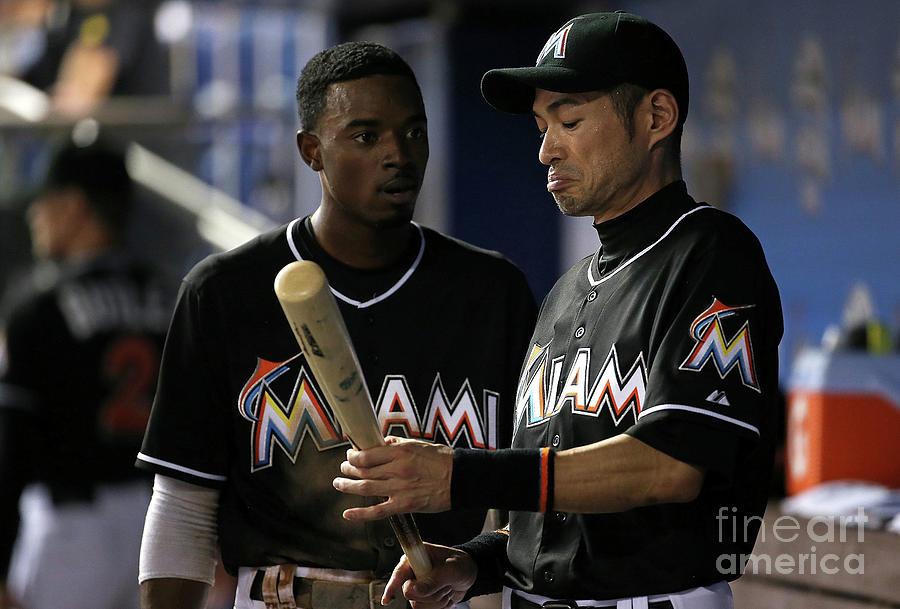 Dee Gordon and Ichiro Suzuki Photograph by Mike Ehrmann