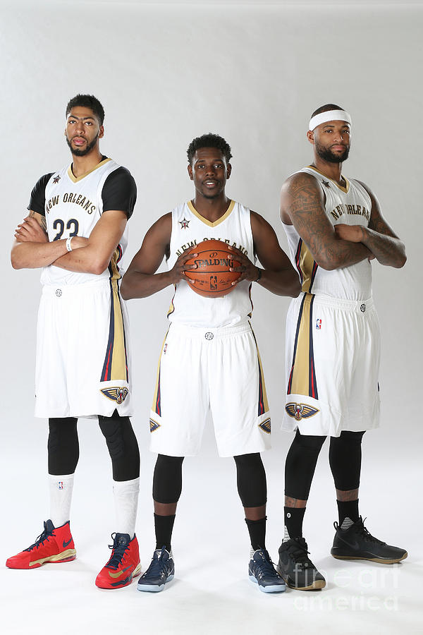 Demarcus Cousins, Jrue Holiday, and Anthony Davis Photograph by Layne Murdoch