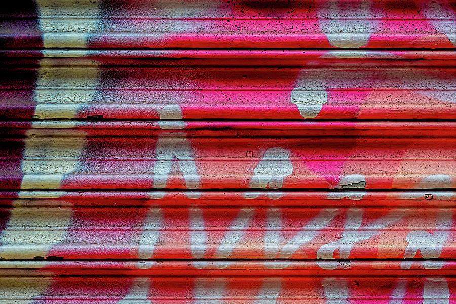 Detail Of Graffiti On Metal Gate Photograph