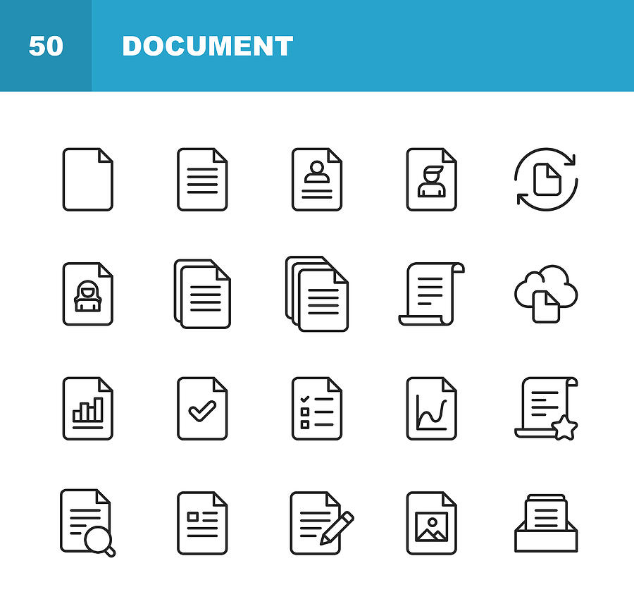 Document Line Icons. Editable Stroke. Pixel Perfect. For Mobile and Web. Contains such icons as Document, File, Communication, Resume, File Search. Drawing by Rambo182