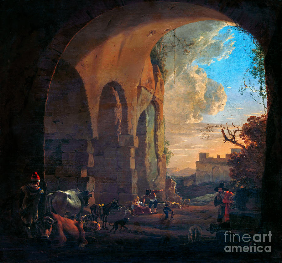 Drovers With Cattle Under An Arch Of The Colosseum In Rome Painting
