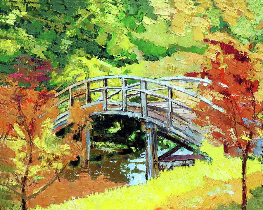 Bridge Painting - Drum Bridge in Autumn by John Lautermilch
