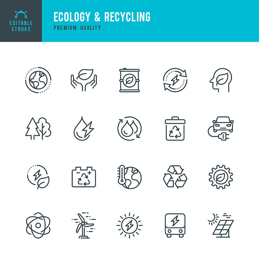 ECOLOGY & RECYCLING - set of line vector icons. Editable stroke. Pixel Perfect. Set contains such icons as Climate Change, Alternative Energy, Recycling, Green Technology. Drawing by Fonikum