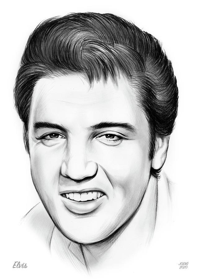 Elvis Drawing - Elvis by Greg Joens