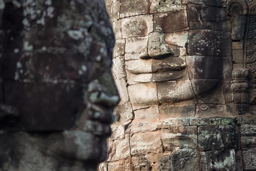 face  of Bhudha at Bayon temple Photograph by Skaman306