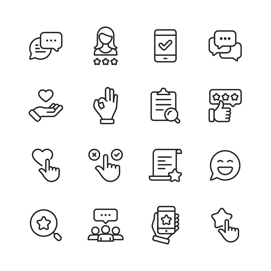Feedback and Testimonials  Line Icons. Editable Stroke. Pixel Perfect. For Mobile and Web. Contains such icons as Feedback, Testimonials, Survey, Review, Clipboard, Happy Face, Like Button, Thumbs Up, Badge. Drawing by Rambo182