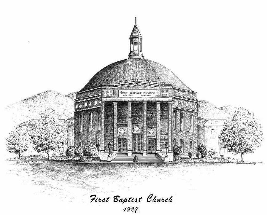 Church Drawing - First Baptist Church by Lee Pantas