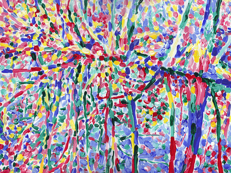 River Painting - Forest river reflection oil painting on canvas, colorful psychedelic trees water landscape by Vitali Komarov