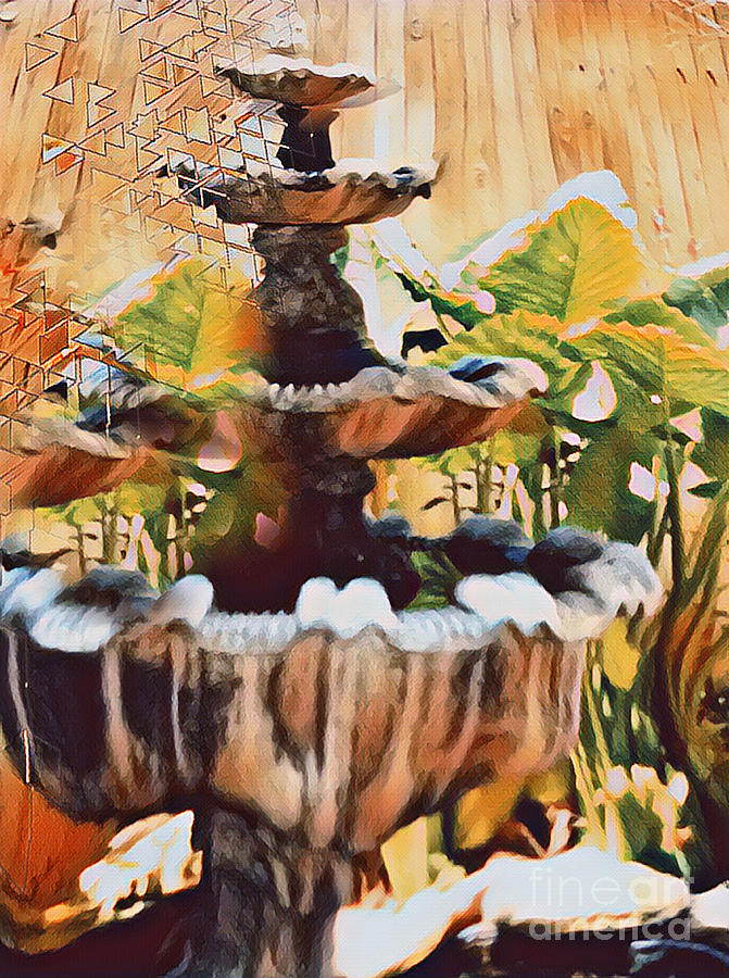 Fountain Digital Art - Fountain of Change by Karen Francis