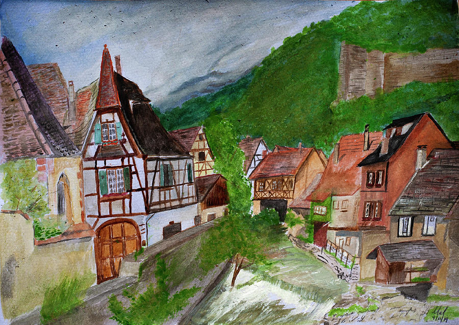 French Village In Watercolour. Painting