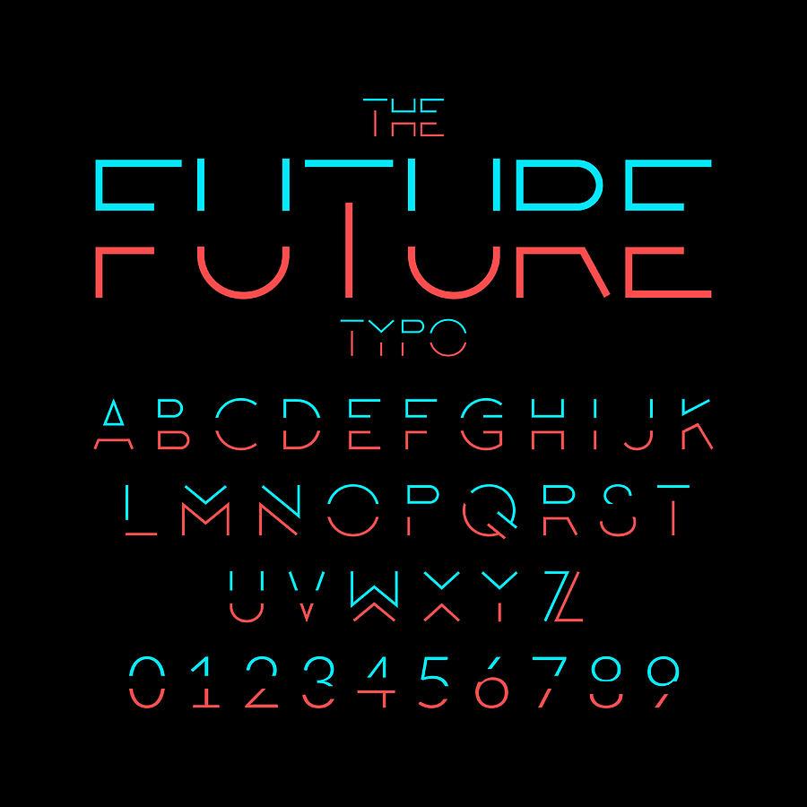Future alphabet Drawing by Vectorios2016