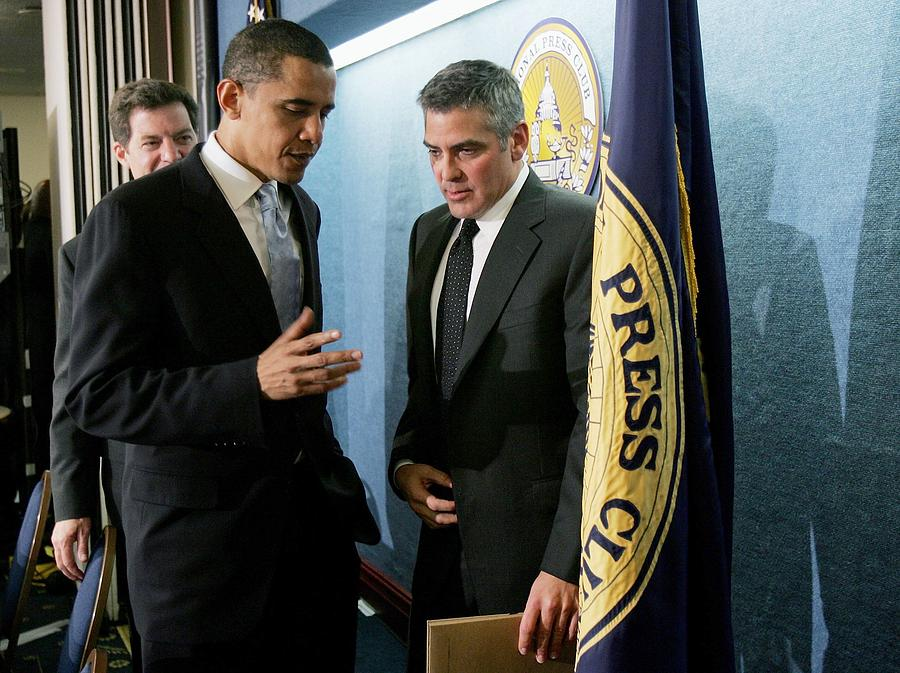 George Clooney Addresses National Press Club On Darfur Photograph by Win McNamee