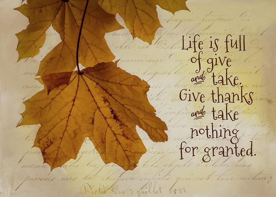 Autumn Photograph - Give Thanks by Cathy Kovarik