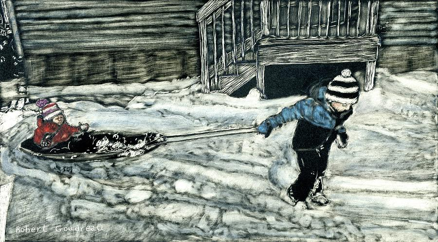 Winter Painting - Going Sledding by Robert Goudreau