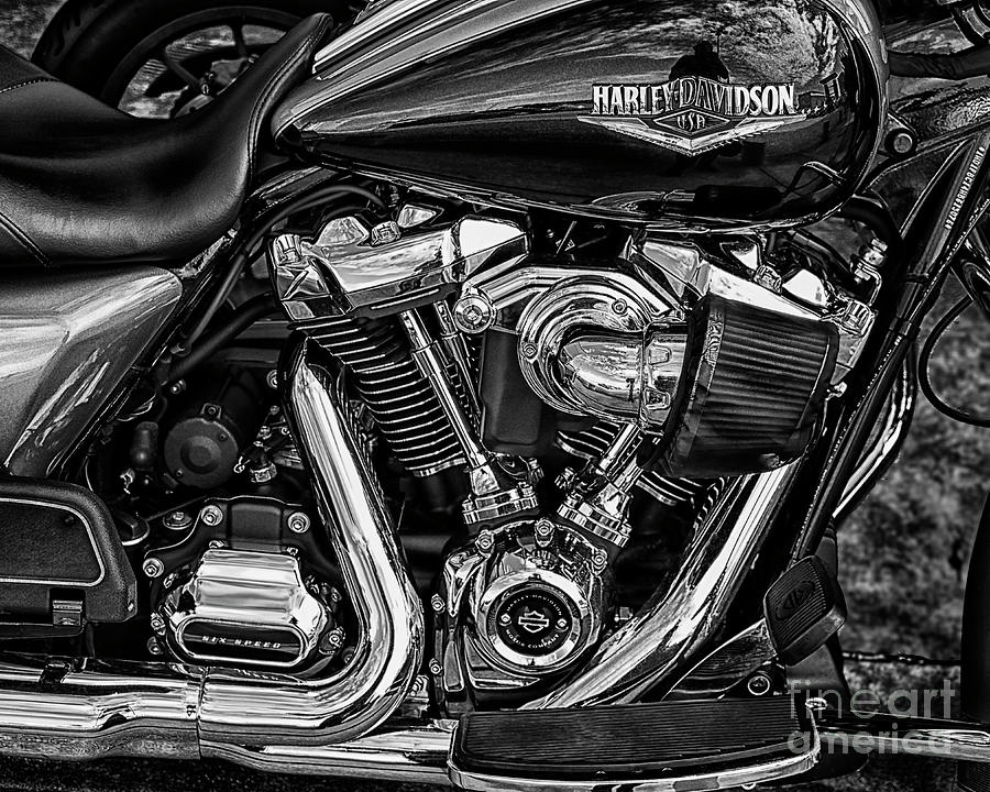 Harley - Davidson Black And White Photograph
