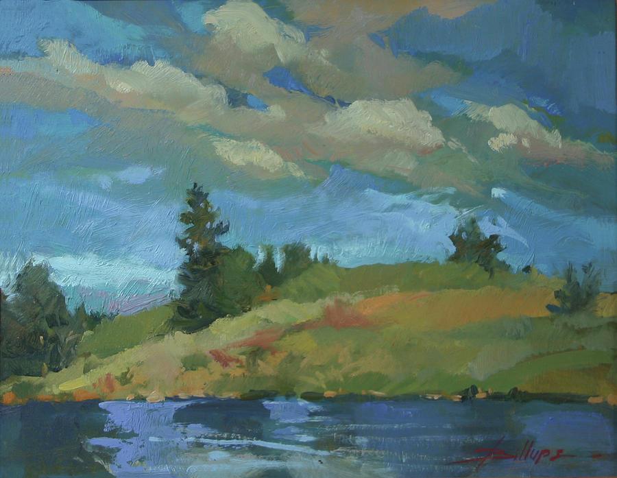 Montana Landscape Painting - HayPress Lake by Betty Jean Billups