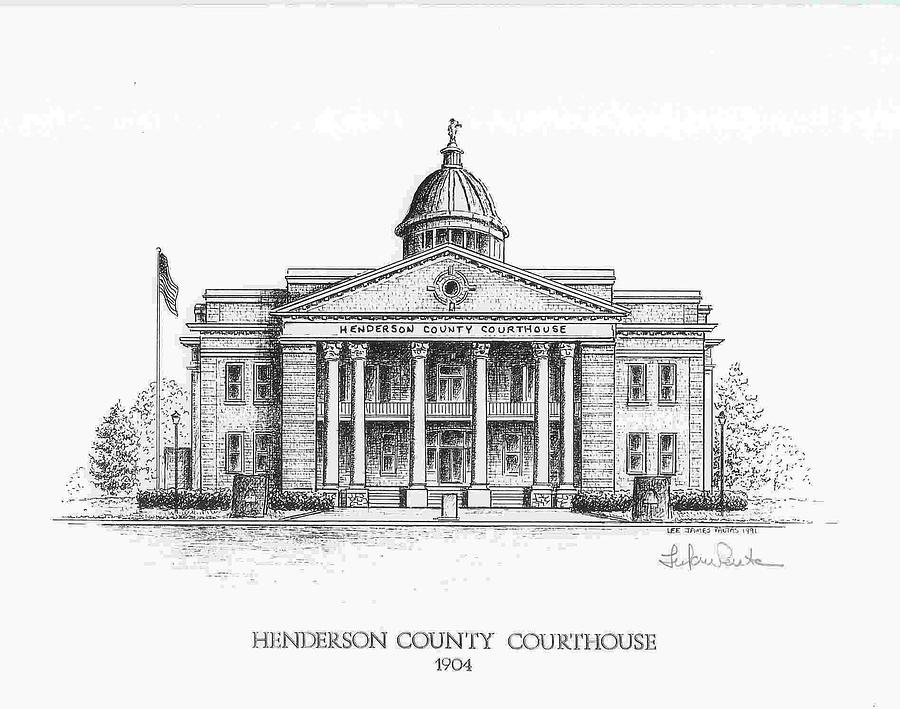 Courthouse Drawing - Henderson County Courthouse by Lee Pantas