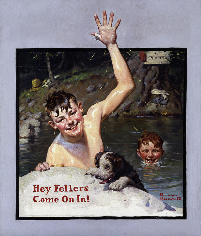 Painting Painting - Hey Fellers, Come On In by Norman Rockwell