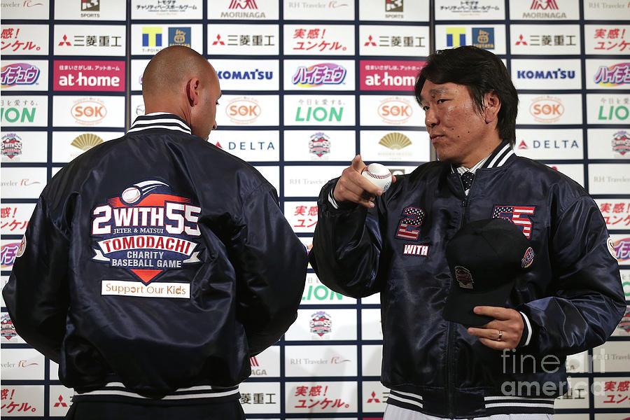Hideki Matsui and Derek Jeter Photograph by Chris Mcgrath