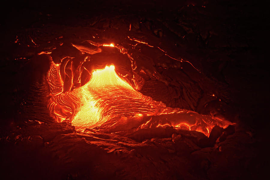 Lava Photograph - Hot magma emerges from a crack in the earth by Ralf Lehmann