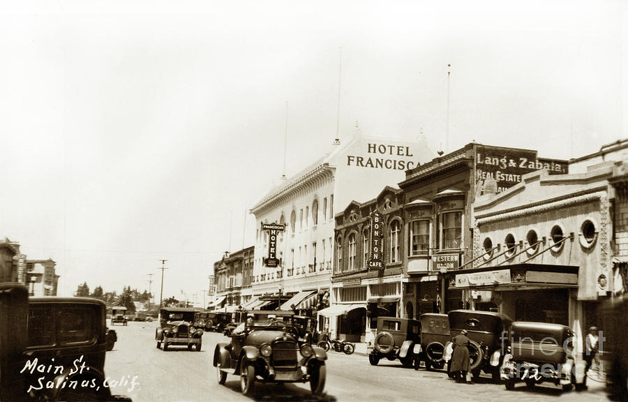 Hotel Franciscan, Bonton Cafe, Western Union,  T and D Theatre, M by California Views Archives Mr Pat Hathaway Archives