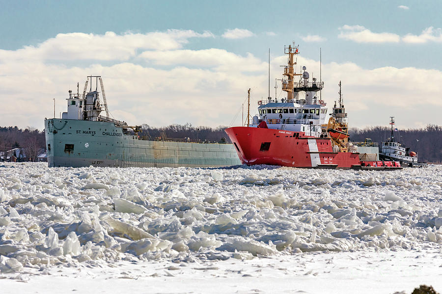 Winter Photograph - Icebreaker on St. Clair River by Jim West