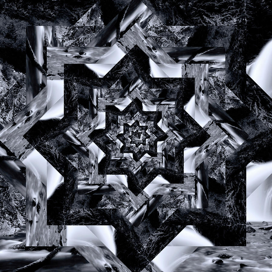 Infinity Tunnel Star Franklin Falls Black And White Digital Art