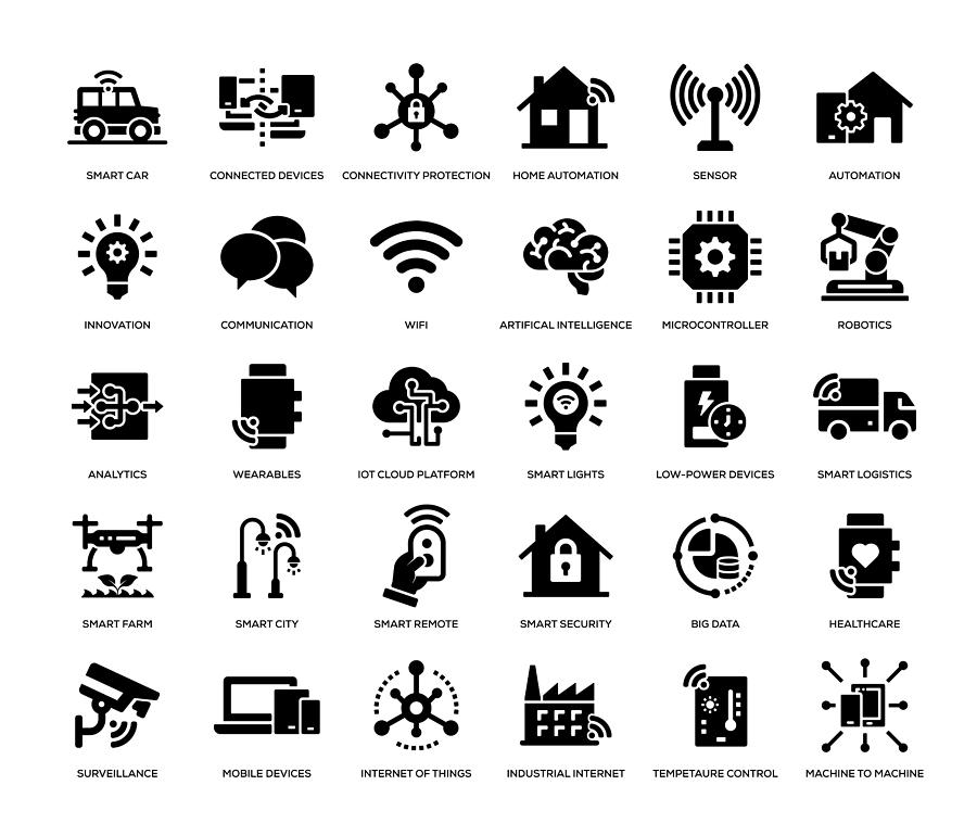 Internet of Things Icon Set Drawing by Enis Aksoy