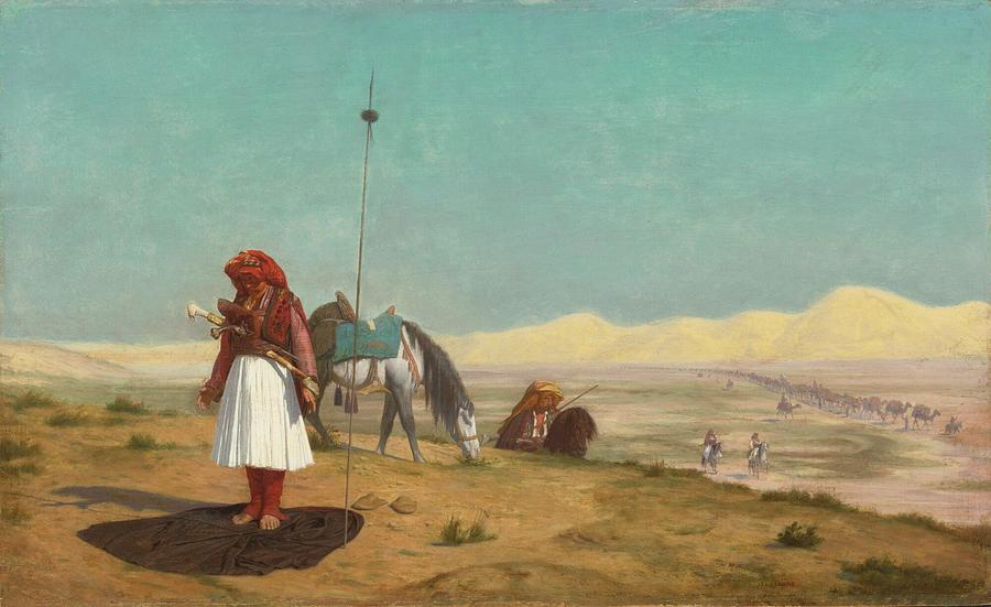 Jean-leon Gerome French 1824 - 1904 Prayer In The Desert Painting
