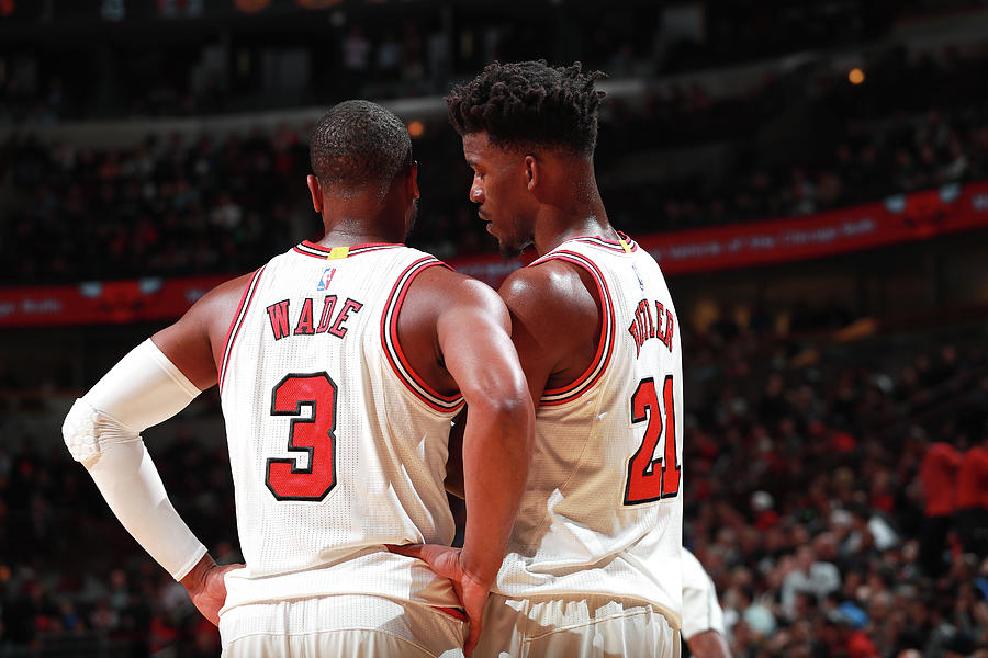 Jimmy Butler and Dwyane Wade Photograph by Jeff Haynes