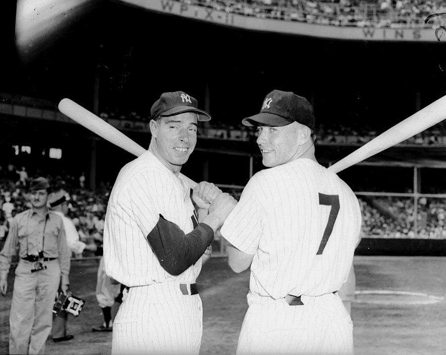 Joe Dimaggio and Mickey Mantle Photograph by New York Daily News Archive