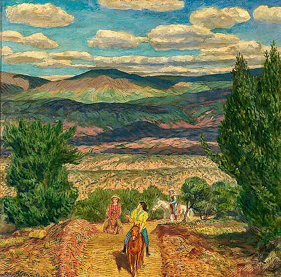 John Sloan Riders In The Hills 1946 Painting