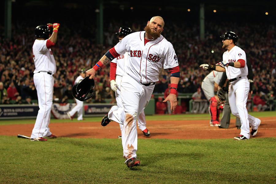 Jonny Gomes and Shane Victorino Photograph by Jamie Squire