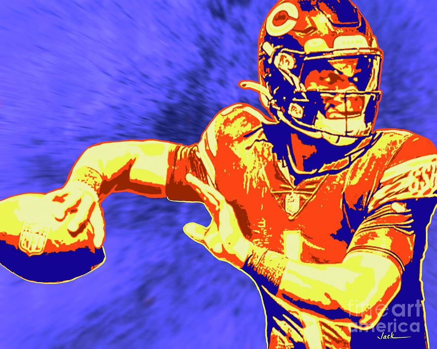 Bears Painting - Justin Fields Pass by Jack Bunds