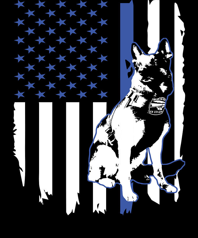 Men/'s K9 Thin Blue Line Gifts For Him Police Patriotic Stars and Stripes Flag Custom