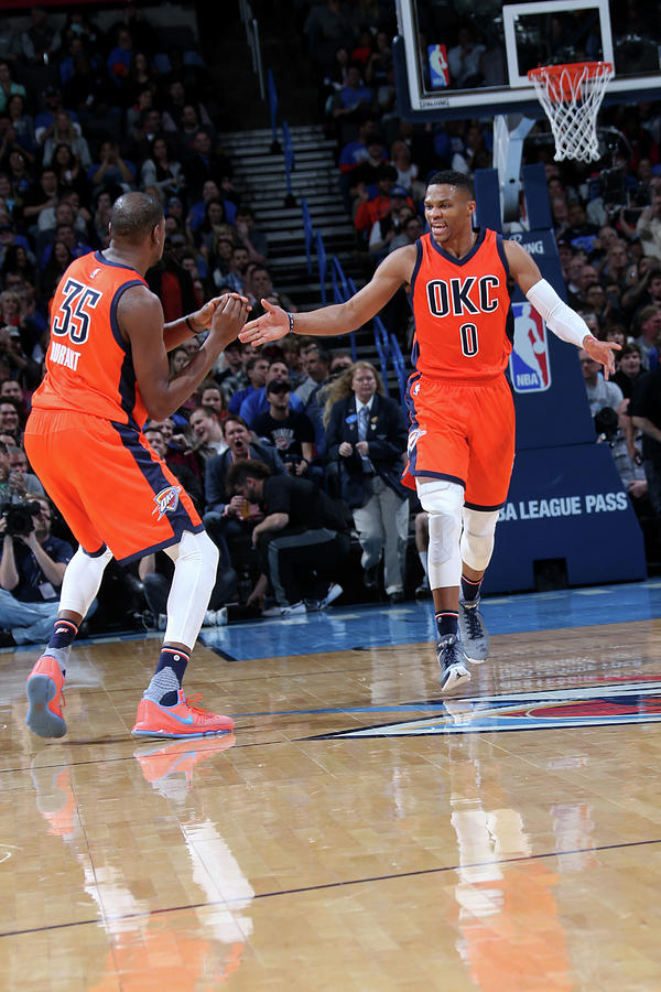 Kevin Durant and Russell Westbrook Photograph by Layne Murdoch