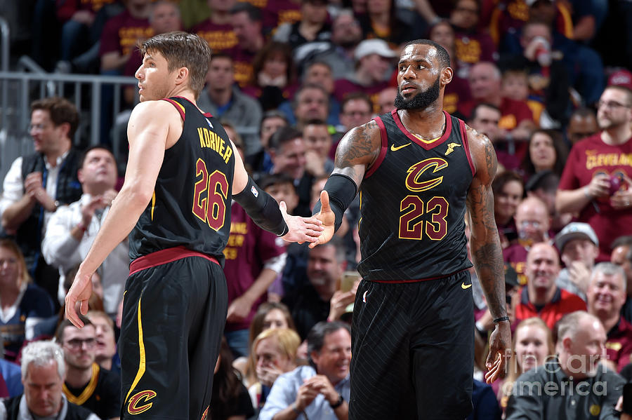 Kevin Love and Lebron James Photograph by David Liam Kyle