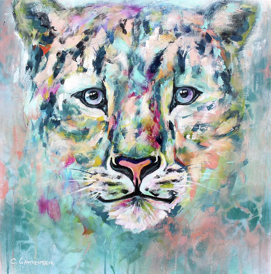 Snow Leopard Mixed Media - Kira by Claudia Gantenbein