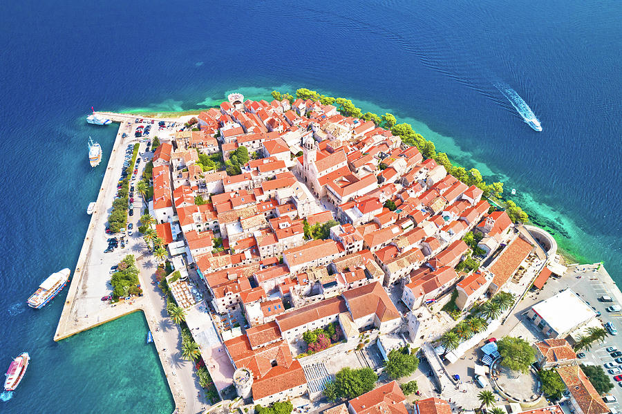 Korcula. Historic Town Of Korcula Aerial Panoramic View Photograph