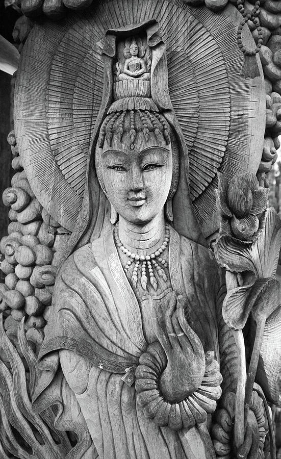 Antique Photograph - Kuan Yin  1 by Apatsara Sirirodchanapanya