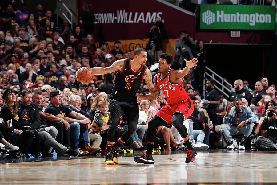 Kyle Lowry and George Hill Photograph by Jeff Haynes