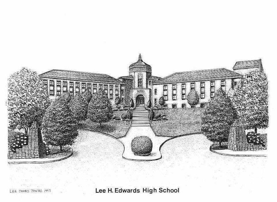 Lee Edwards High School Drawing by Lee Pantas