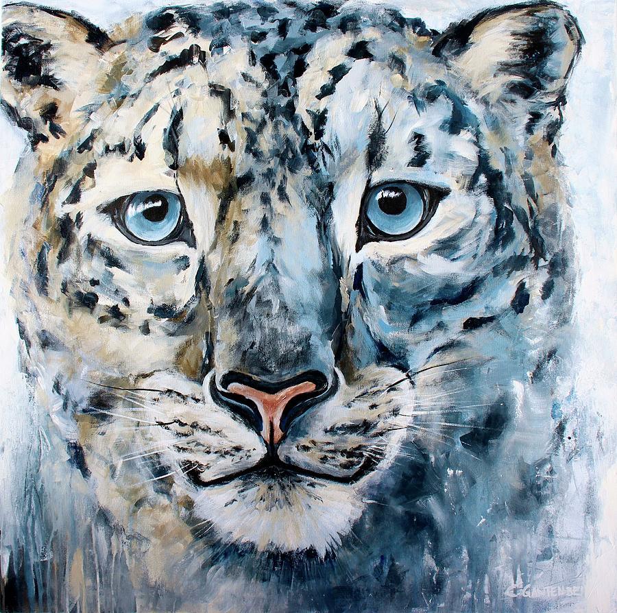 Snow Leopard Mixed Media - Liam by Claudia Gantenbein
