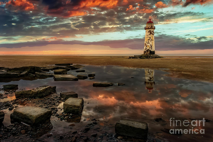 Lighthouse Sunset Wales by Adrian Evans