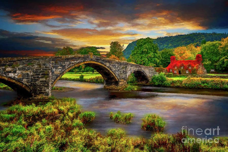 Llanrwst Ivy Cottage  and Bridge by Adrian Evans