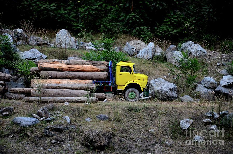 Loggers Loading Tree Trunks Onto Yellow Truck On Mountainside Kaghan Pakistan Photograph