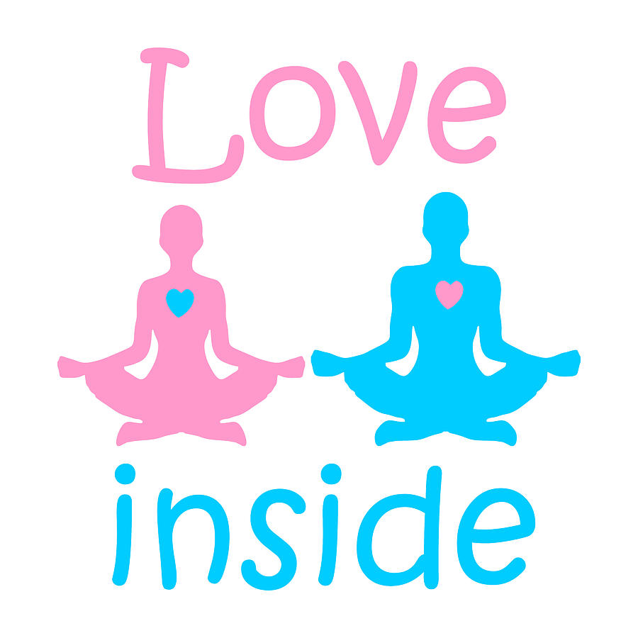 Lifestyle Digital Art - Love inside - a couple of yogis in the Lotus position meditate at  Valentines day with hearts  by Elena Sysoeva
