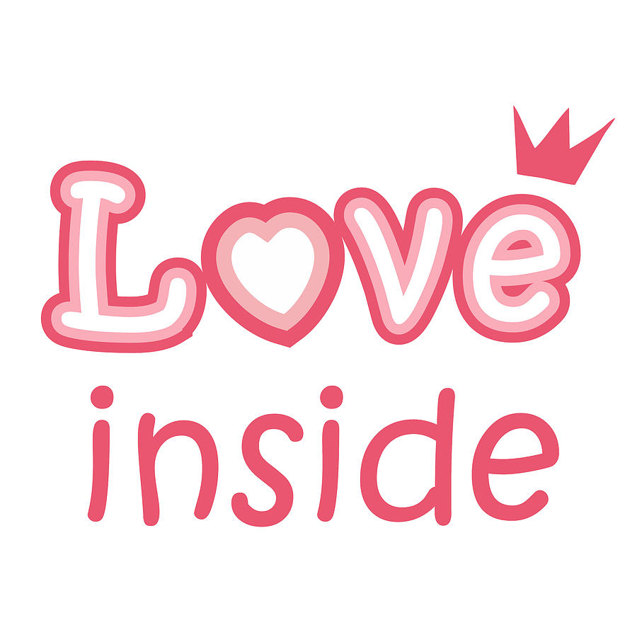Love Digital Art - Love inside - cute pink heart symbol with hearts inside by Elena Sysoeva