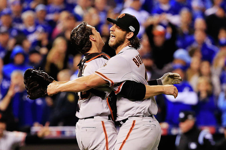 Madison Bumgarner and Buster Posey Photograph by Jamie Squire